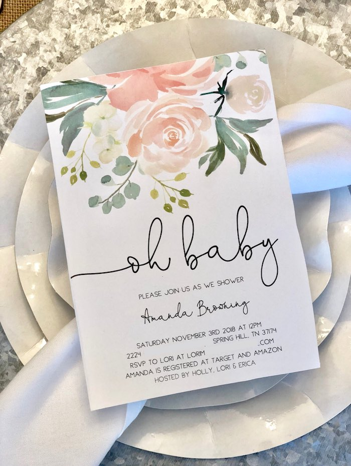 Oh Baby Shower Invitation from a Rustic Elegant Farmhouse Baby Shower on Kara's Party Ideas | KarasPartyIdeas.com