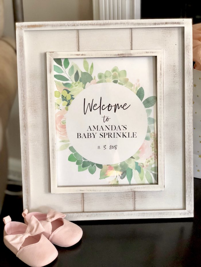 Welcome Sign from a Rustic Elegant Farmhouse Baby Shower on Kara's Party Ideas | KarasPartyIdeas.com