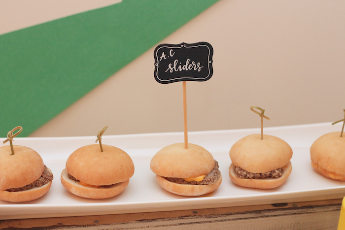 "A.C. Sliders from a ""Saved by the Bell"" Birthday Party on Kara's Party Ideas 