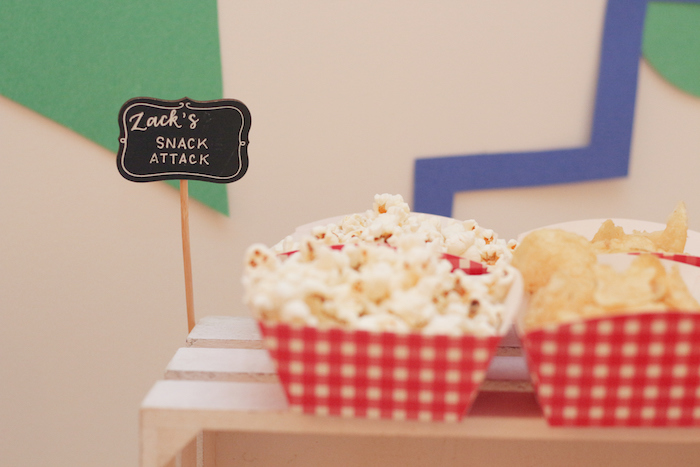 "Zack's Snack Attack Popcorn from a ""Saved by the Bell"" Birthday Party on Kara's Party Ideas 