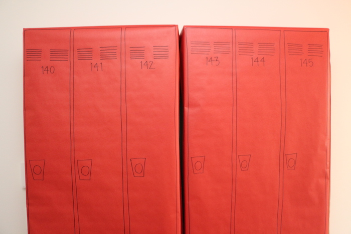 "Red Bayside Lockers from a ""Saved by the Bell"" Birthday Party on Kara's Party Ideas 