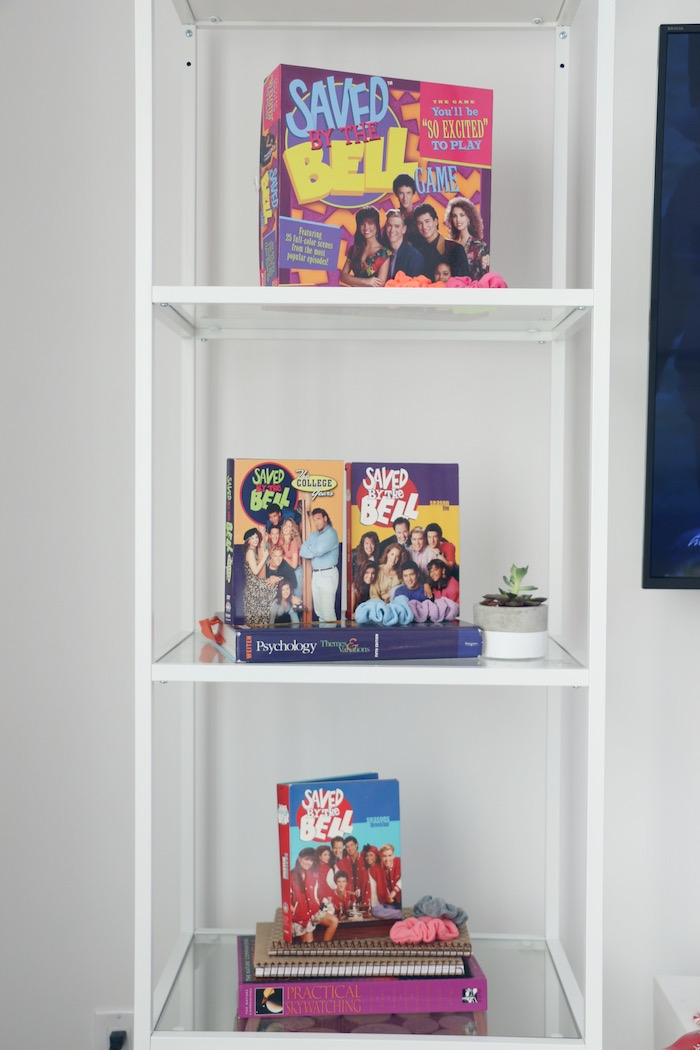 "Saved by the Bell- inspired Decor Shelf from a ""Saved by the Bell"" Birthday Party on Kara's Party Ideas 