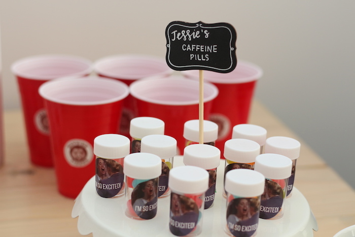 "Jessie's Caffeine Pill Favor Bottles from a ""Saved by the Bell"" Birthday Party on Kara's Party Ideas 