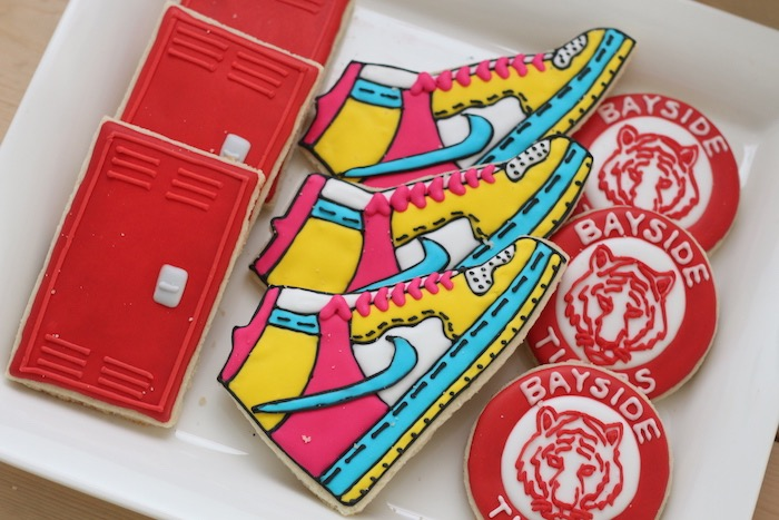 """Saved by the Bell"" Cookies from a ""Saved by the Bell"" Birthday Party on Kara's Party Ideas 