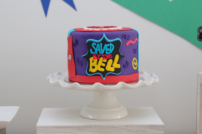 "Saved by the Bell Cake from a ""Saved by the Bell"" Birthday Party on Kara's Party Ideas 