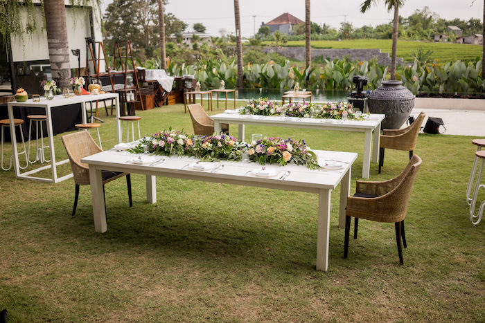 Tropical Garden Guest Tables from a Bali Destination Island Wedding on Kara's Party Ideas | KarasPartyIdeas.com (21)