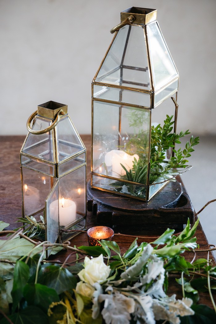Modern Metal Lanterns + Greenery from a Ballet Inspired Wedding on Kara's Party Ideas | KarasPartyIdeas.com (40)