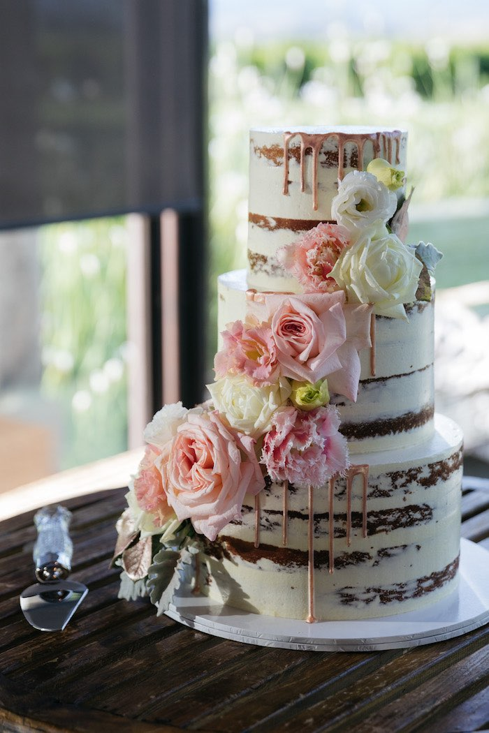 Semi-naked cake adorned with flowers from a Ballet Inspired Wedding on Kara's Party Ideas | KarasPartyIdeas.com (33)