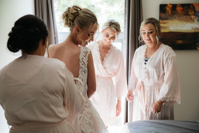 Lacing the Dress from a Ballet Inspired Wedding on Kara's Party Ideas | KarasPartyIdeas.com (20)