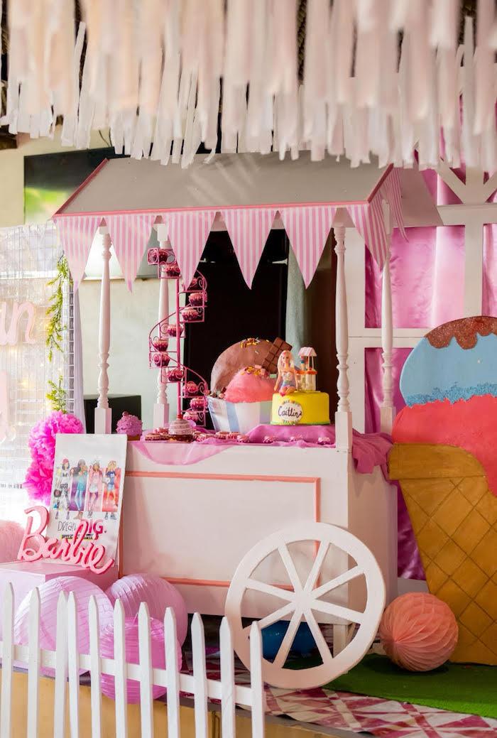Ice Cream Cart from a Barbie Ice Cream Birthday Party on Kara's Party Ideas | KarasPartyIdeas.com (13)