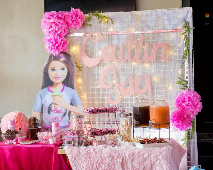 Barbie Themed Dessert Table from a Barbie Ice Cream Birthday Party on Kara's Party Ideas | KarasPartyIdeas.com (12)