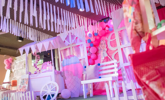 Barbie Backdrop + Party Spread from a Barbie Ice Cream Birthday Party on Kara's Party Ideas | KarasPartyIdeas.com (11)