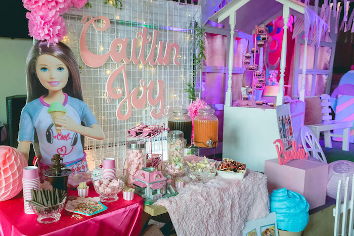 Barbie Themed Dessert Tables from a Barbie Ice Cream Birthday Party on Kara's Party Ideas | KarasPartyIdeas.com (5)