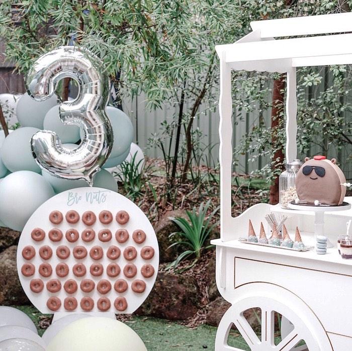 Donut Board & Sweet Cart from a Bear Cub Club BroNut Birthday Party on Kara's Party Ideas | KarasPartyIdeas.com (14)