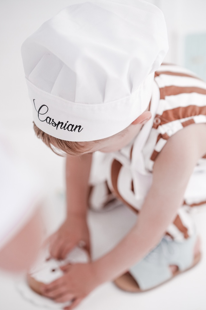 Personalized Chef Hat from a Bear Cub Club BroNut Birthday Party on Kara's Party Ideas | KarasPartyIdeas.com (8)