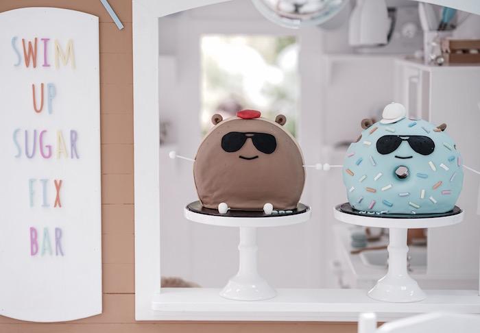 BroNut + Donut Cakes from a Bear Cub Club BroNut Birthday Party on Kara's Party Ideas | KarasPartyIdeas.com (5)