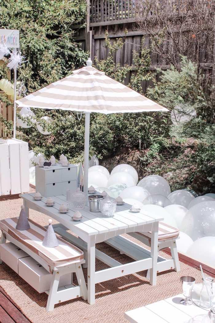 White Picnic Table from a Bear Cub Club BroNut Birthday Party on Kara's Party Ideas | KarasPartyIdeas.com (4)