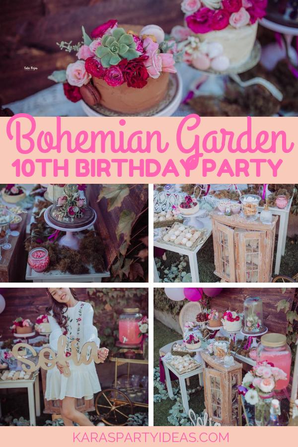 Bohemian Garden 10th Birthday Party via KarasPartyIdeas - KarasPartyIdeas.com