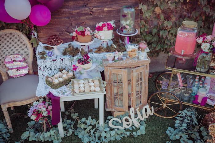 Breathtaking Bohemian Dessert Spread from a Bohemian Garden 10th Birthday Party on Kara's Party Ideas | KarasPartyIdeas.com (12)