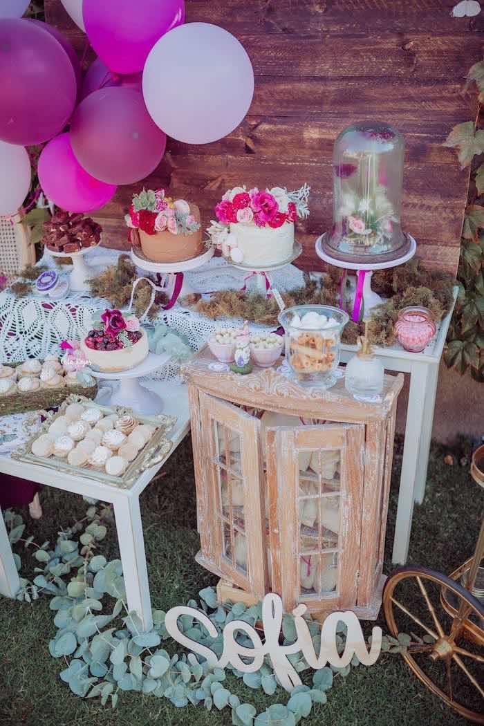 Garden Dessert Table from a Bohemian Garden 10th Birthday Party on Kara's Party Ideas | KarasPartyIdeas.com (10)