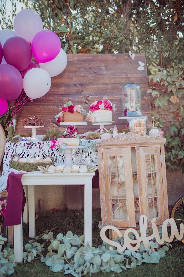 Gorgeous & Girly Dessert Spread from a Bohemian Garden 10th Birthday Party on Kara's Party Ideas | KarasPartyIdeas.com (8)