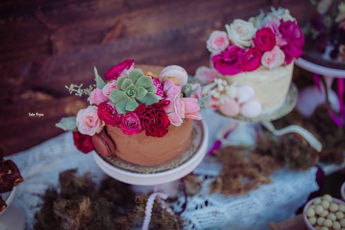 Floral Chocolate Cake from a Bohemian Garden 10th Birthday Party on Kara's Party Ideas | KarasPartyIdeas.com (6)