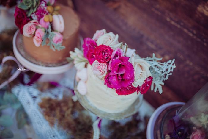 Boho-inspired Floral Vanilla Cake from a Bohemian Garden 10th Birthday Party on Kara's Party Ideas | KarasPartyIdeas.com (19)