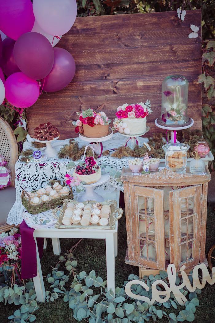 Gorgeous & Girly Garden Dessert Spread from a Bohemian Garden 10th Birthday Party on Kara's Party Ideas | KarasPartyIdeas.com (18)
