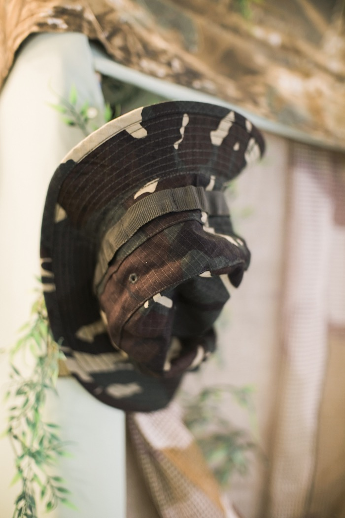 Camo Hat Decoration from a Camouflage Military Themed Birthday Party on Kara's Party Ideas | KarasPartyIdeas.com (15)