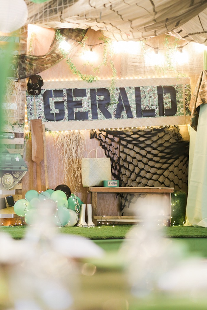 Camouflaged Party Backdrop from a Camouflage Military Themed Birthday Party on Kara's Party Ideas | KarasPartyIdeas.com (12)