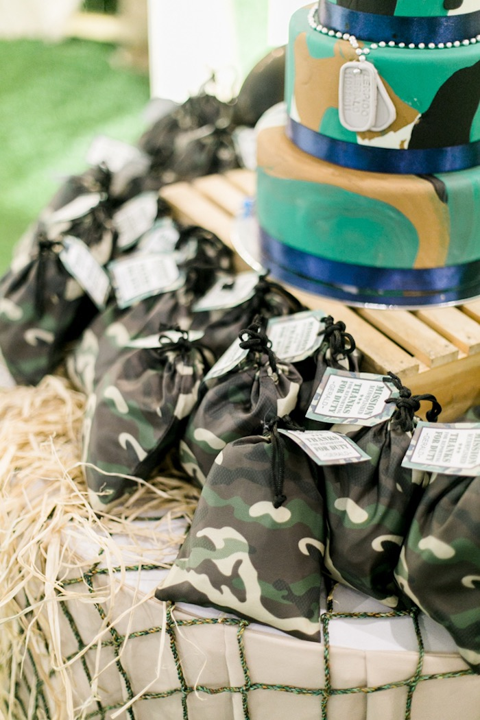 Drawstring Camo Favor Sacks from a Camouflage Military Themed Birthday Party on Kara's Party Ideas | KarasPartyIdeas.com (7)