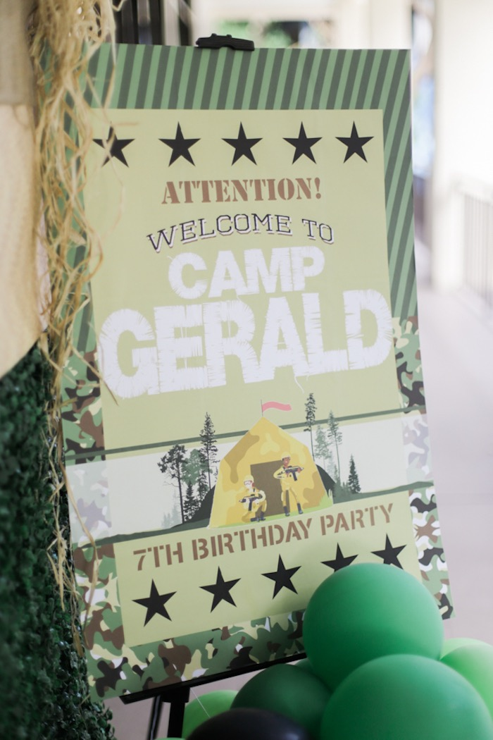 Welcome Sign from a Camouflage Military Themed Birthday Party on Kara's Party Ideas | KarasPartyIdeas.com (24)