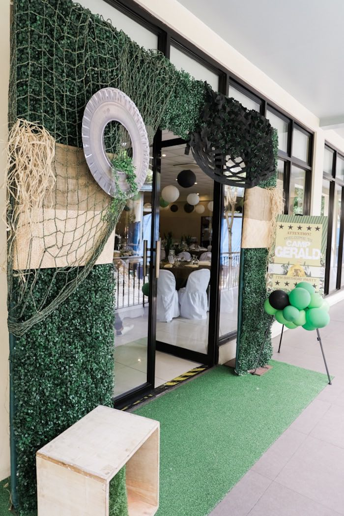 Party Entrance from a Camouflage Military Themed Birthday Party on Kara's Party Ideas | KarasPartyIdeas.com (23)