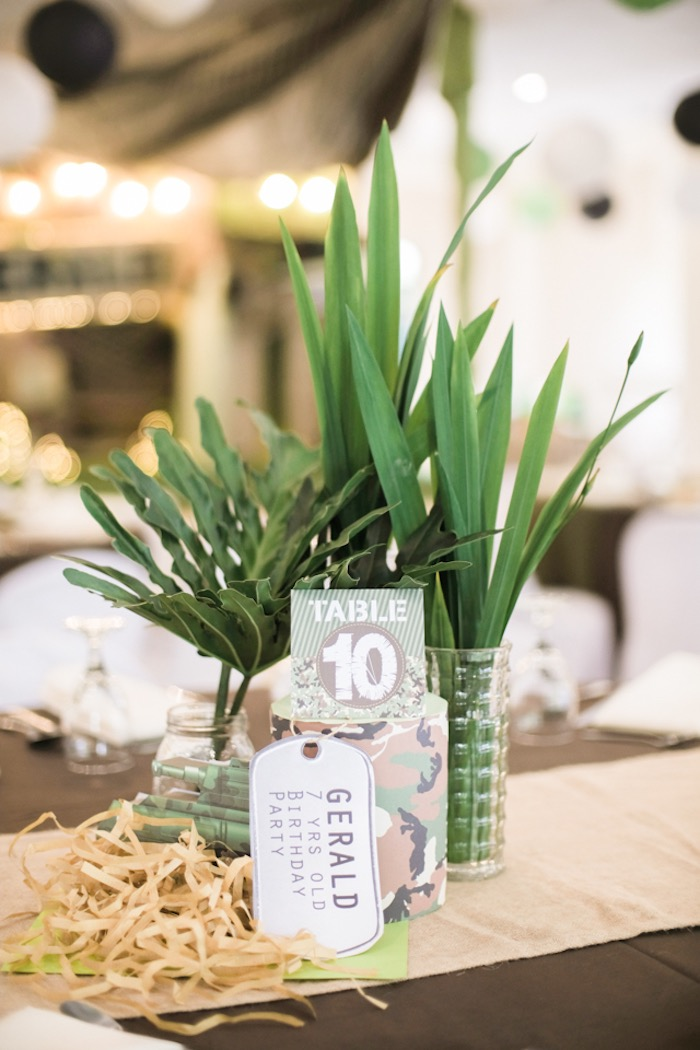 Army/Military-inspired Party Table + Centerpieces from a Camouflage Military Themed Birthday Party on Kara's Party Ideas | KarasPartyIdeas.com (21)