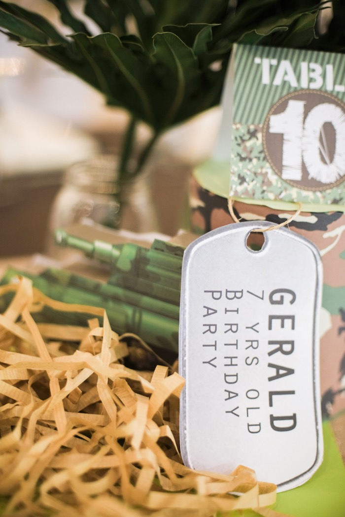 Dog Tag Signage + Centerpiece from a Camouflage Military Themed Birthday Party on Kara's Party Ideas | KarasPartyIdeas.com (20)