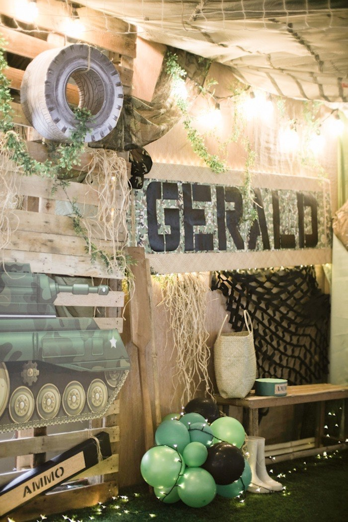 Army-inspired Party Backdrop from a Camouflage Military Themed Birthday Party on Kara's Party Ideas | KarasPartyIdeas.com (19)