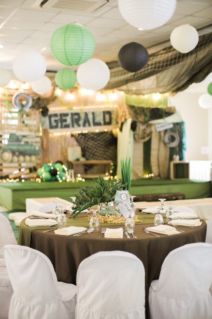 Army Party Table from a Camouflage Military Themed Birthday Party on Kara's Party Ideas | KarasPartyIdeas.com (18)