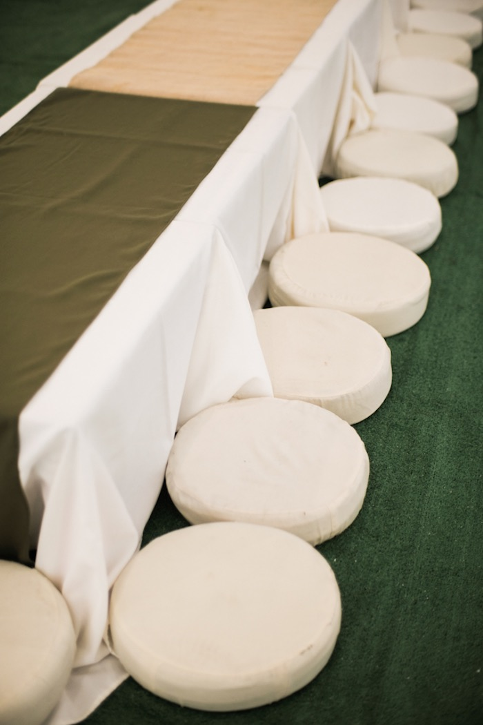 Pillow-seated Kid Table from a Camouflage Military Themed Birthday Party on Kara's Party Ideas | KarasPartyIdeas.com (17)