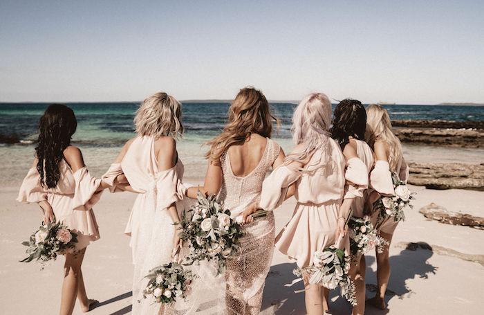 Bride & Bridesmaids- Beachside from a Coachella Inspired Seaside Wedding on Kara's Party Ideas | KarasPartyIdeas.com (11)