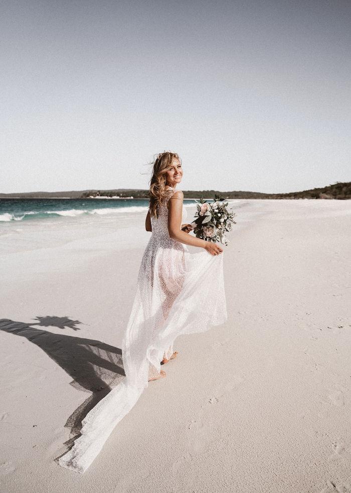 Beach Bride from a Coachella Inspired Seaside Wedding on Kara's Party Ideas | KarasPartyIdeas.com (6)