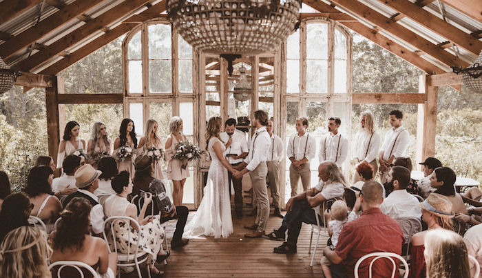 Wedding Ceremony from a Coachella Inspired Seaside Wedding on Kara's Party Ideas | KarasPartyIdeas.com (17)