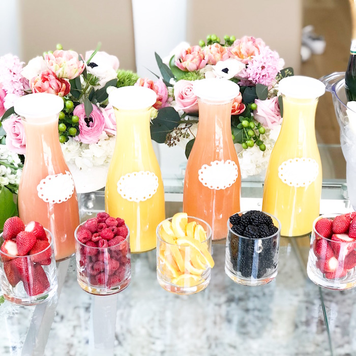 Beverage Bottles & Fruit Mixers from a Garden Birthday Brunch on Kara's Party Ideas | KarasPartyIdeas.com (10)