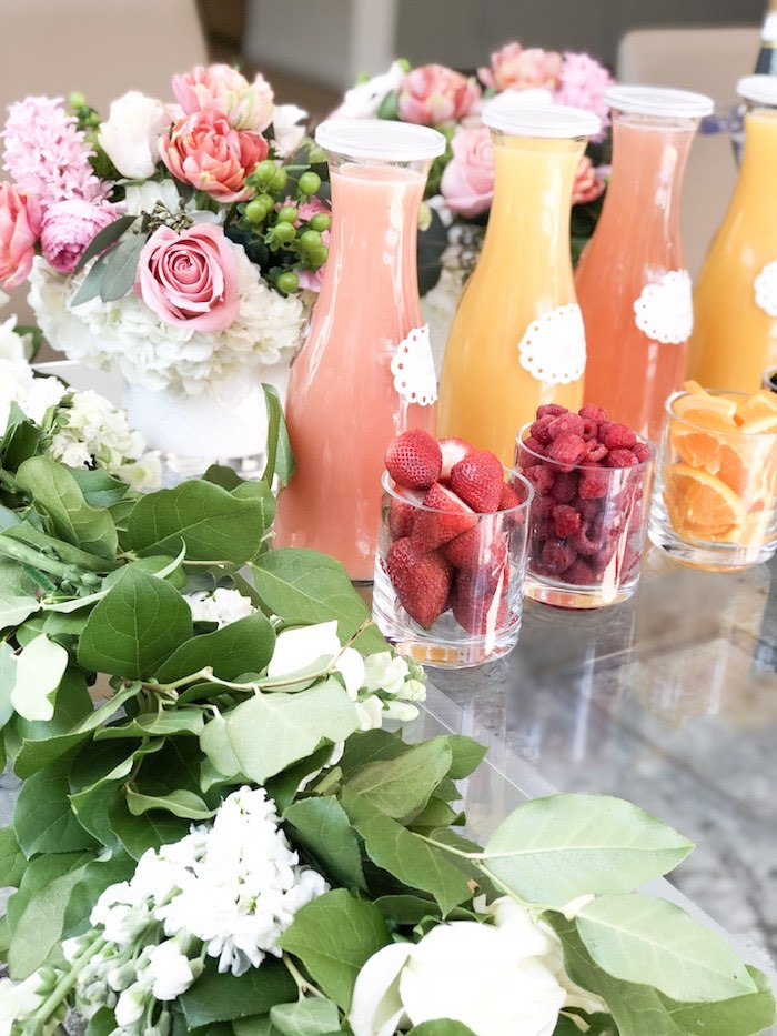 Mimosa Bar from a Garden Birthday Brunch on Kara's Party Ideas | KarasPartyIdeas.com (8)