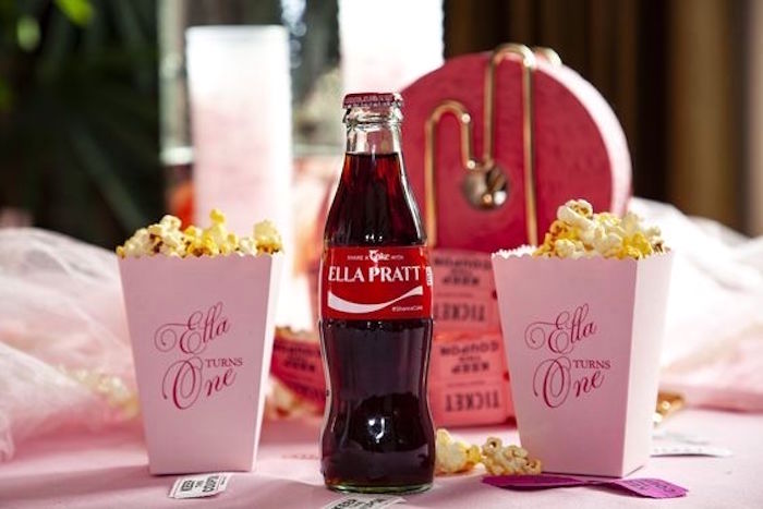 Pink Personalized Popcorn Boxes from a Girly Red & Pink Circus Birthday Party on Kara's Party Ideas | KarasPartyIdeas.com (17)