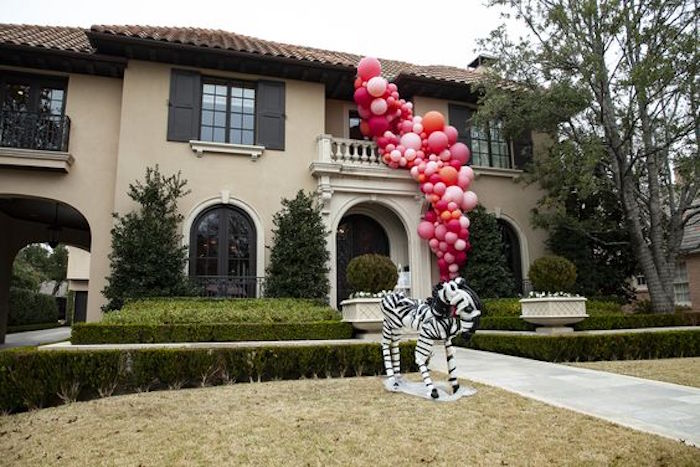 Balloon & Animal Entrance from a Girly Red & Pink Circus Birthday Party on Kara's Party Ideas | KarasPartyIdeas.com (15)