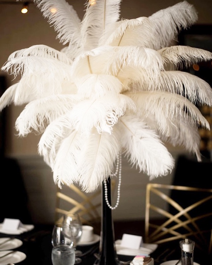 Large White Feather Centerpiece from a Great Gatsby Inspired Dinner Party on Kara's Party Ideas | KarasPartyIdeas.com (6)