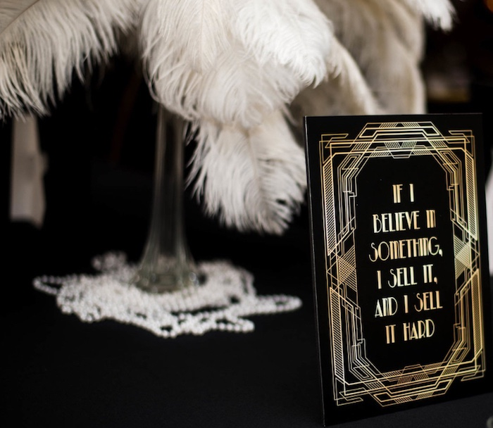 Great Gatsby-inspired Party Signage from a Great Gatsby Inspired Dinner Party on Kara's Party Ideas | KarasPartyIdeas.com (15)