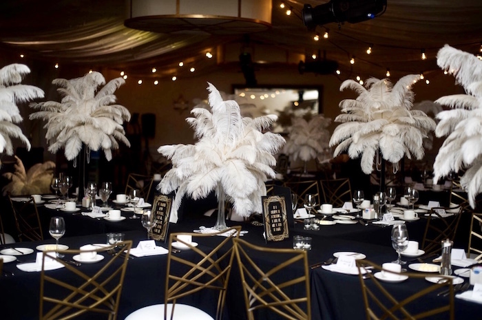 Great Gatsby Themed Guest/Dining Tables from a Great Gatsby Inspired Dinner Party on Kara's Party Ideas | KarasPartyIdeas.com (13)