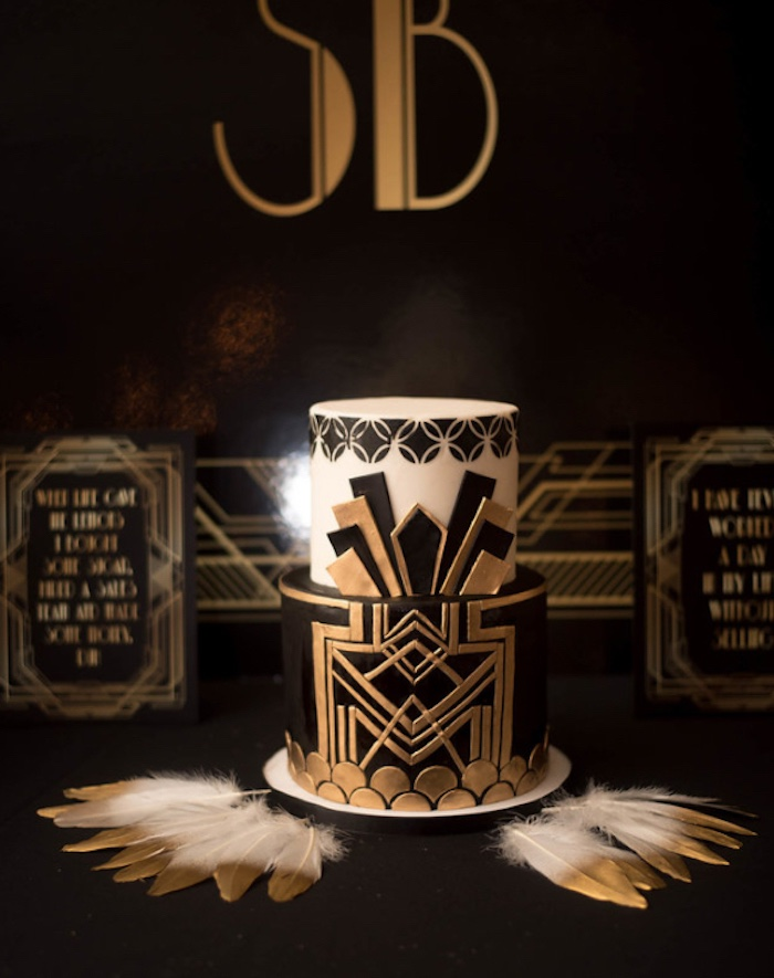 Great Gatsby Cake from a Great Gatsby Inspired Dinner Party on Kara's Party Ideas | KarasPartyIdeas.com (10)