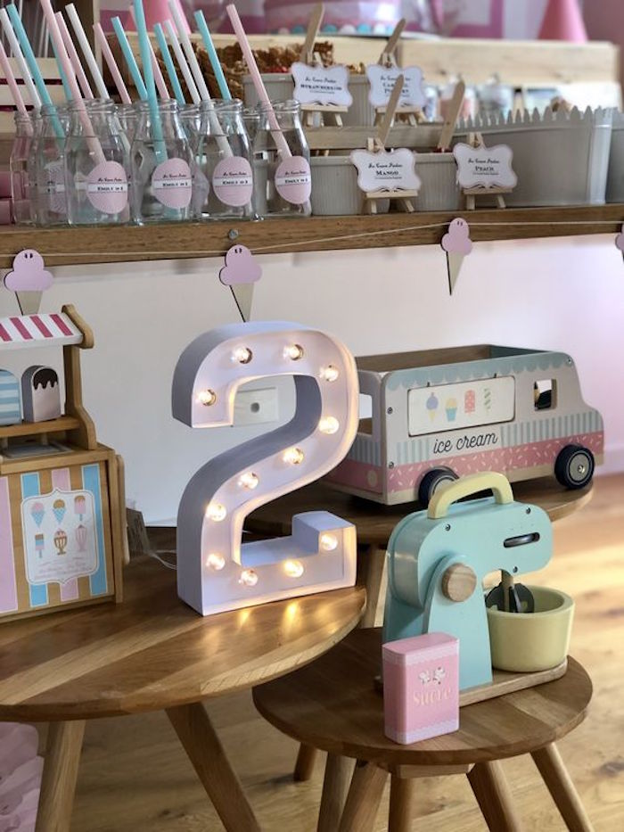 Ice Cream Themed Decor Pieces from an Ice Cream Shop Birthday Party on Kara's Party Ideas | KarasPartyIdeas.com (3)